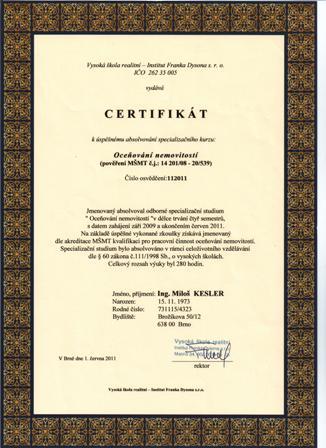 Certifikát oceňování nemovitostí